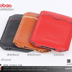 Husa Toc Piele Naturala Apple iPhone 4 4S Red by Yoobao Originala - Husa Telefon Yoobao, Rosu