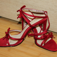 Sandale elegante rosii NOI 36 - Sandale dama, Greige, Marime: 35.5