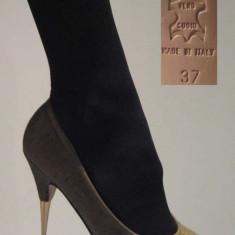 Pantof Italia material talpa piele toc metal poze reale - Pantof dama, Culoare: Din imagine, Marime: 37