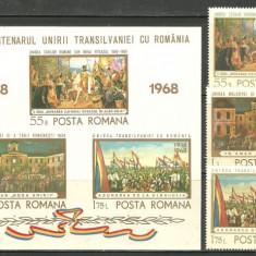 Romania 1968 - PICTURA MAREA UNIRE, serie si colita nestampilata AC72 - Timbre Romania