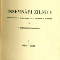INSEMNARI ZILNICE 1 ( 1855-1880 ) - Titu Maiorescu - Carte veche