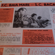 Program fotbal FC Baia Mare - SC Bacau 26.10.1980 - Program meci