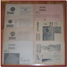 Lot de 16 reviste Supliment Femeia 1963-1966, moda, croitorie, broderie, modele de cusut