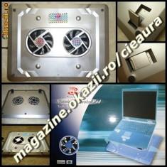 NOTEBOOK COOL PAD ARGINTIU MASUTA RACIRE LAPTOP 2 VENTILATOARE LED ON/OFF - Masa Laptop
