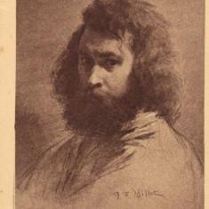 Carte postala ilustrata, personalitati, pictura - J.F. Millet, autoportret - Carte postala tematica, Necirculata