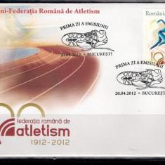 ROMANIA 2012 - FED. ROMANA DE ATLETISM 100 ANI - FDC - LP 1939 - Timbre Romania