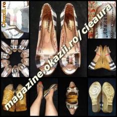 PANTOFI DECUPATI DAMA GEN FIRMA BURBERRY PANZA PLATFORMA TALPA ORTOPEDICA - Sandale dama Burberry, Culoare: Din imagine, Marime: 37, Textil