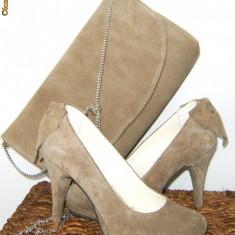 Pantofi nude marime 35-36, piele intoarsa, toc 8 cm - Pantof dama, Argintiu, 35 1/3