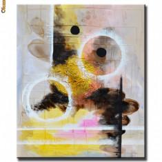 Tablou modern abstract 60x50cm in ulei pe panza - LUMI PARALELE (1)