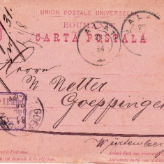 CARTE POSTALA STAMPILA GALATI AN 1884 pt.m.METTER WURTENBERG.-OCPP 33 - Plic Papetarie