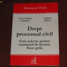 Viorel Mihai Ciobanu - Drept procesual civil - Curs selectiv pentru examenul de licenta. Teste grila. - Carte Drept procesual civil