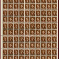 Romania 1940 - Ajutorul Legionar, C.Z. Codreanu, coala 100 timbre x 5 Lei brun - Timbre Romania, Istorie, Nestampilat