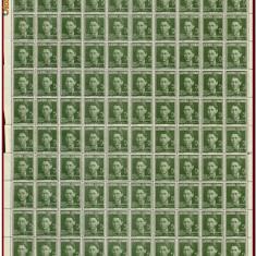 Romania 1940 - Ajutorul Legionar, C.Z. Codreanu, coala 100 timbre x 5 Lei verde - Timbre Romania, Istorie, Nestampilat