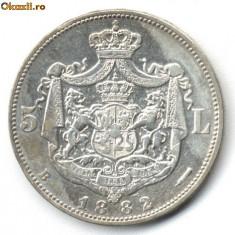 5 LEI 1882 STARE FOARTE FOARTE BUNA - Moneda Romania