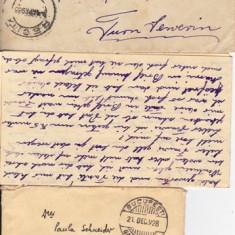 PLIC 2TIMBRATE 1 TIMISOAR, PAULA SCHNEIDER 1928, SI 1 PT.HORTOLONYI FR.TURNU SEVERIN 1935A-OCPP 136 - Plic Papetarie