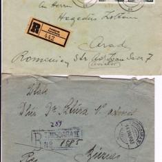 PLIC 2TIMBRATE ; 1 PT ARAD 1957 HEGEDUS Z, SI 1 DR ZSTURA BUZIAS 1933-OCPP 125 - Plic Papetarie