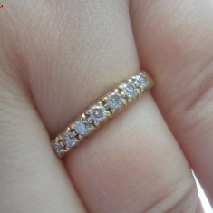 Superb inel banda / verigheta aur galben 18K cu diamante naturale 0.25CT - Inel aur