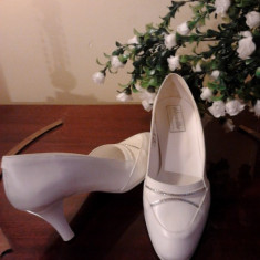 Pantofi albi mireasa - Pantof dama, Marime: 35.5, Cu toc
