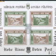 1995 ROMANIA colita bloc de 4 Centenar prima emisiune locala HOHE RINNE Paltinis - Timbre Romania, Nestampilat