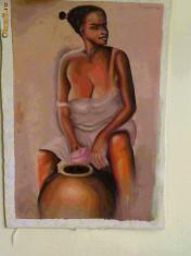 Tablou -Negresa- pictura ulei pe panza, unicat