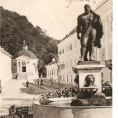 CPI (B735) BAILE HERCULANE, STATUIA LUI HERCULE SI DOMUL, EDITURA MERIDIANE, CPCS, CIRCULATA, 1959, STAMPILE, TIMBRU - Carte Postala Banat dupa 1918, Fotografie