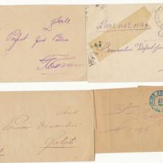 RFL 1884-1905 ROMANIA lot 4 plicuri oficiale stampile rurale jud Dolj si Putna