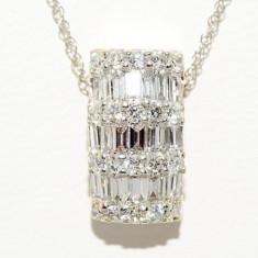 Lantisor R.KLEIN aur alb 14K cu pandantiv cu diamante naturale VS, 0.80CT - Colier aur alb