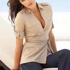 Victoria's Secret CAMASA alba feminina si eleganta - Camasa dama Victoria S Secret, Maneca scurta, Bumbac