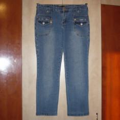 Jeans, blugi albastrii 7/8 de dama - Blugi dama, Albastru, Boyfriend, Marime: 28, Lungi, Normala