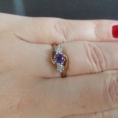 Superb inel aur galben 9K cu ametist si diamante naturale 1.9 grame - Inel diamant, 46 - 56