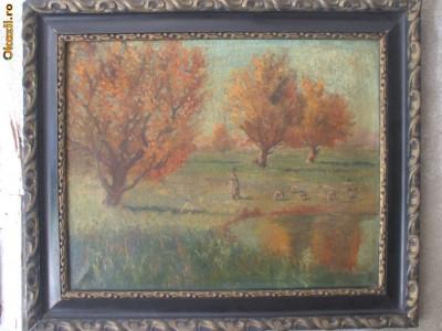 Ciobanas cu oi, pictura interbelica in ulei pe panza, tablou vechi foto