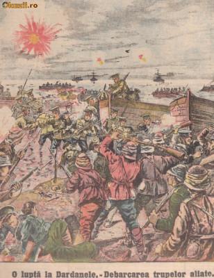 Universul : debarcarea aliatilor in Dardanele (1915,gravura) foto