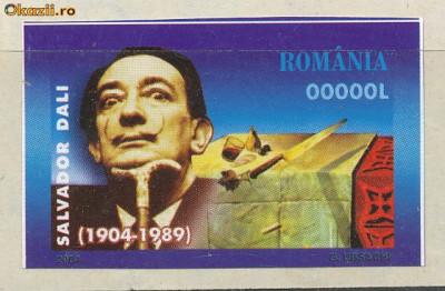 2004 ROMANIA eseu timbru pictor SALVADOR DALI nedantelat FB cu nominal 0.0000 foto