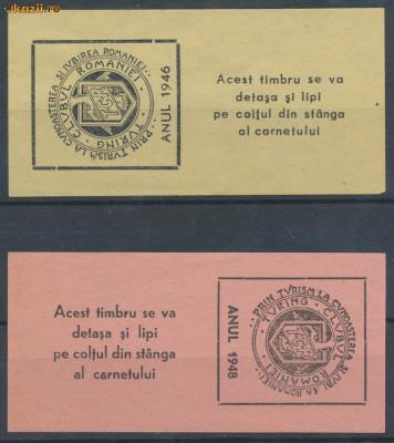 ROMANIA 1946, 1948 2 timbre fiscale rare turism TCR Touring Clubul Romaniei foto