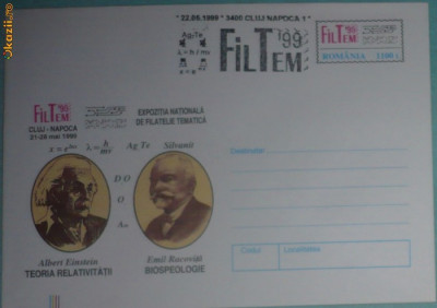 ROMANIA - CLUJ 1999 - EXPOZITIA FILTEM. OAMENI DE STIINTA. INTREG POSTAL (PA13) foto