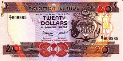 Bancnota Insulele Solomon 20 Dolari (1986) - P16 UNC (CV = $20) foto