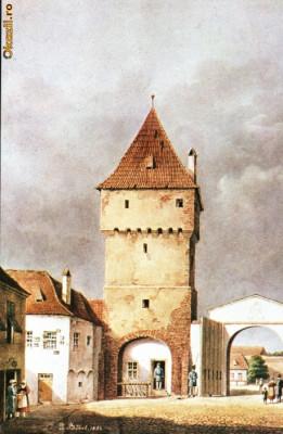 Carte postala ilustrata Poarta Sag - Sibiu, dinspre oras foto