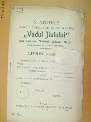 "Statut Banca ,,Vadul Jiului"" Gorjiu Targu Jiu 1912 foto"