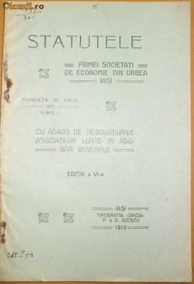 Statute Prima Soc. economie Iasi 1910 foto