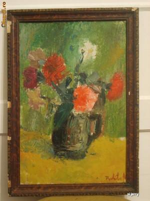 Garoafe 40 x 57 cm , ulei pe carton , flori foto