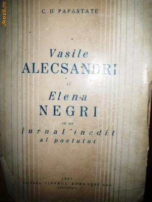 C D Papastate, Vasile Alecsandri si Elena Negri, 1947 foto