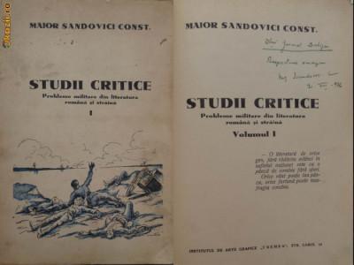 Sandovici , Studii critice , Probleme militare din lit. romana si straina , 1936 foto