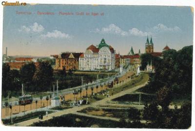 1596 - TIMISOARA - Baia Centrala, bulevardul, tramvai - used - 1918 foto