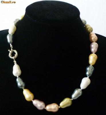 Colier perle de cultura colorate akoya ovale 1,4 cm lungime perla foto