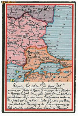 571 - HARTA - Constanta, Medgidia, Bucuresti, Alexandria, Calarasi. Oltenita - old postcard - unused foto