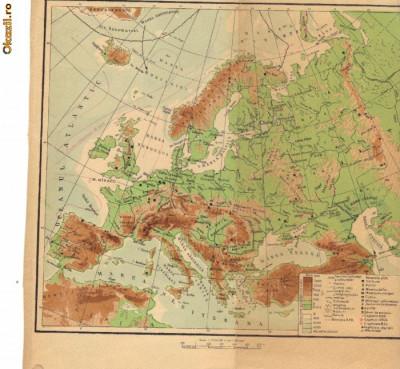 Europa - harta Fizica si politica (Fata - verso) 1961 foto