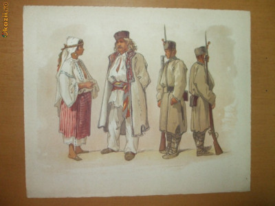 Preziosi Planșă color Tipuri bucureștene, Bucureștii în 1869 foto