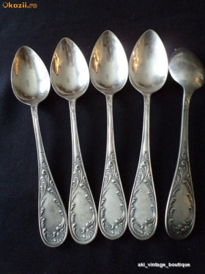 Set linguri alpaca placata cu argint, vechi, 5 bucati foto