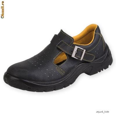 Sandale de protecţie cu bombeu metalic şi lamelă antiperforaţie S1-P 39 Piele naturala NOI foto
