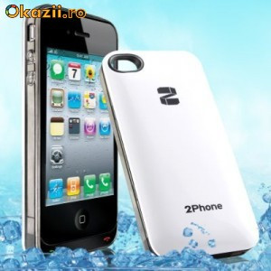 QYG 2Phone transforma iPhone 4/4S in Telefon Dual SiM - Dual CPU + Teleconferinta intre SiM-uri -alb foto